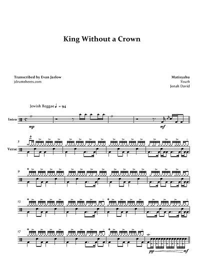 King Without a Crown - Matisyahu - Full Drum Transcription / Drum Sheet Music - Jaslow Drum Sheets