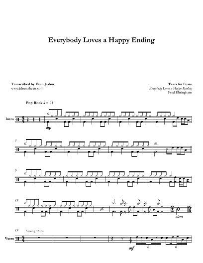 Everybody Loves a Happy Ending - Tears for Fears - Full Drum Transcription / Drum Sheet Music - Jaslow Drum Sheets