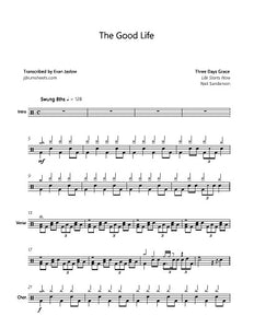 The Good Life - Three Days Grace - Full Drum Transcription / Drum Sheet Music - Jaslow Drum Sheets