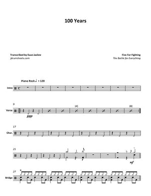 100 Years - Five for Fighting - Full Drum Transcription / Drum Sheet Music - Jaslow Drum Sheets