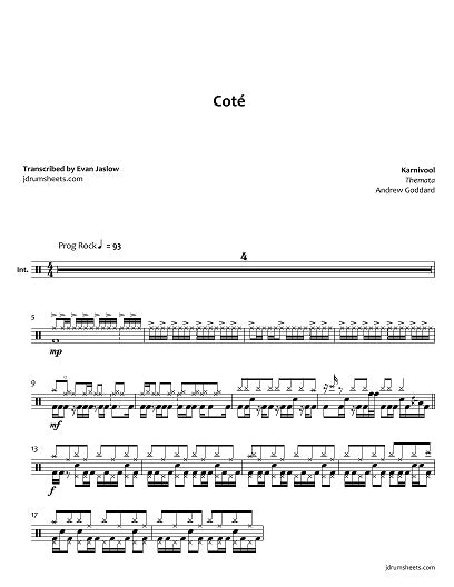 Coté - Karnivool - Full Drum Transcription / Drum Sheet Music - Jaslow Drum Sheets