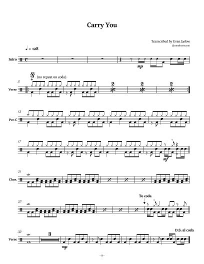 Carry You - Jimmy Eat World - Collection of Drum Transcriptions / Drum Sheet Music - Jaslow Drum Sheets
