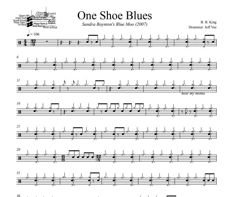 One Shoe Blues - B.B. King - Full Drum Transcription / Drum Sheet Music - DrumSetSheetMusic.com