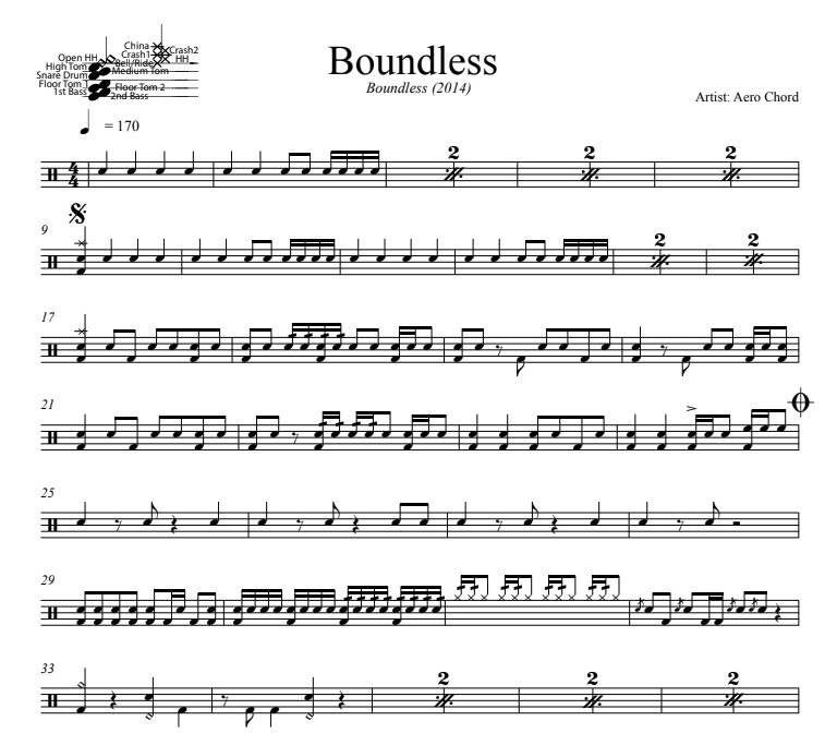 Boundless - Aero Chord - Full Drum Transcription / Drum Sheet Music - DrumSetSheetMusic.com