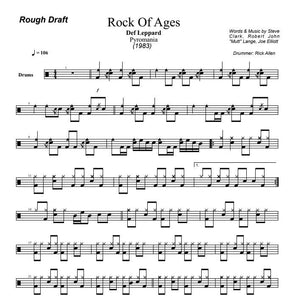 Rock Of Ages - Def Leppard - Rough Draft Drum Transcription / Drum Sheet Music - DrumSetSheetMusic.com