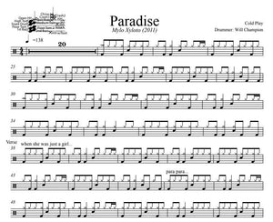 Paradise - Cold Play - Full Drum Transcription / Drum Sheet Music - DrumSetSheetMusic.com