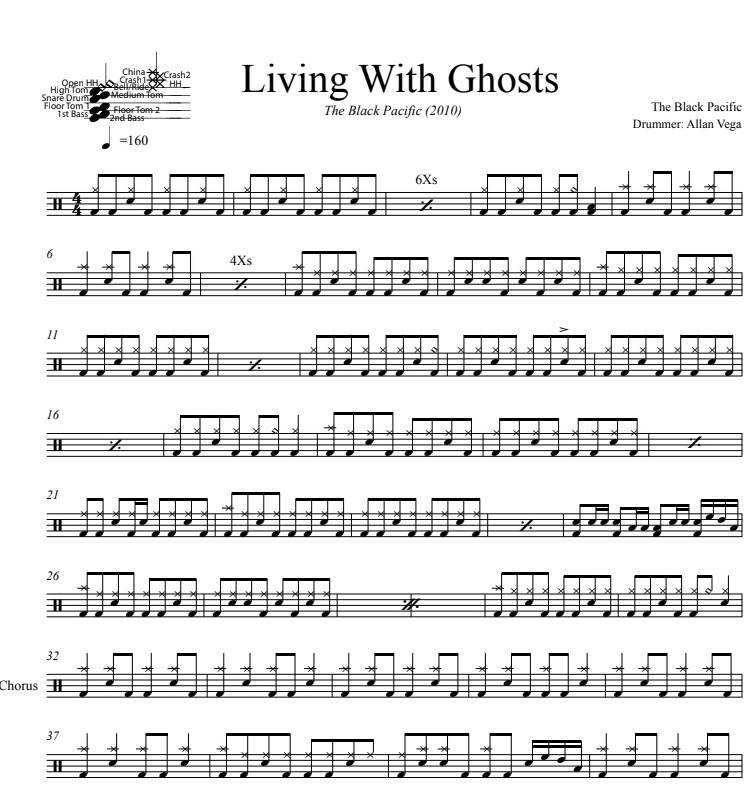 Living With Ghosts - The Black Pacific - Full Drum Transcription / Drum Sheet Music - DrumSetSheetMusic.com