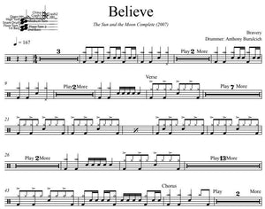 Believe - Bravery - Full Drum Transcription / Drum Sheet Music - DrumSetSheetMusic.com