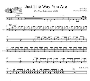 Just The Way You Are - Bruno Mars - Full Drum Transcription / Drum Sheet Music - DrumSetSheetMusic.com