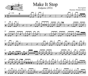 Make It Stop - Rise Against - Full Drum Transcription / Drum Sheet Music - DrumSetSheetMusic.com