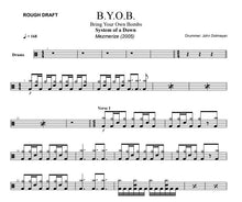 B.Y.O.B. - System of a Down - Rough Draft Drum Transcription / Drum Sheet Music - DrumSetSheetMusic.com