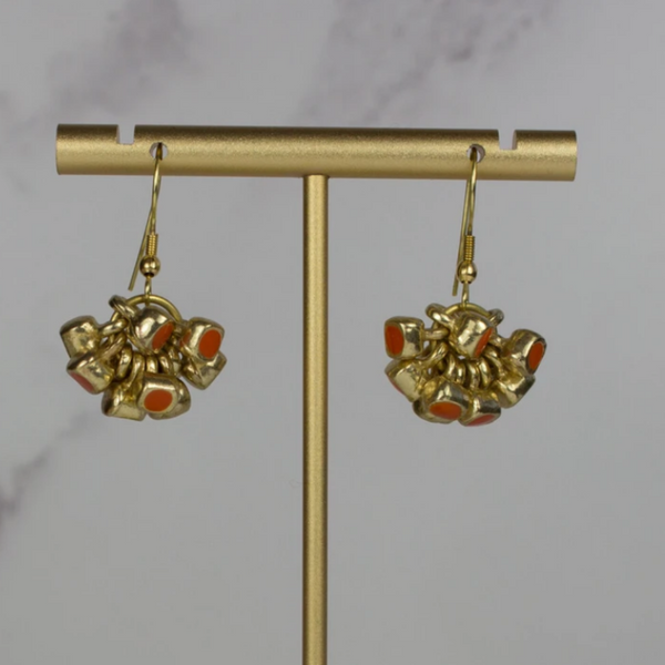 Artisan Cluster Drop Earrings - Coral Enamel