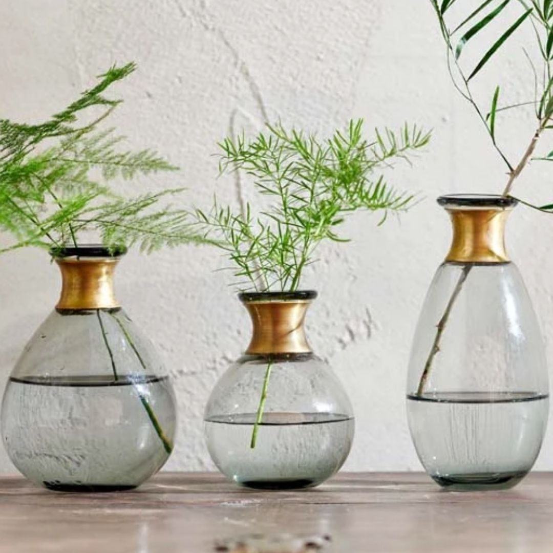Miza Mini Glass Vase (Tall) - Smoke