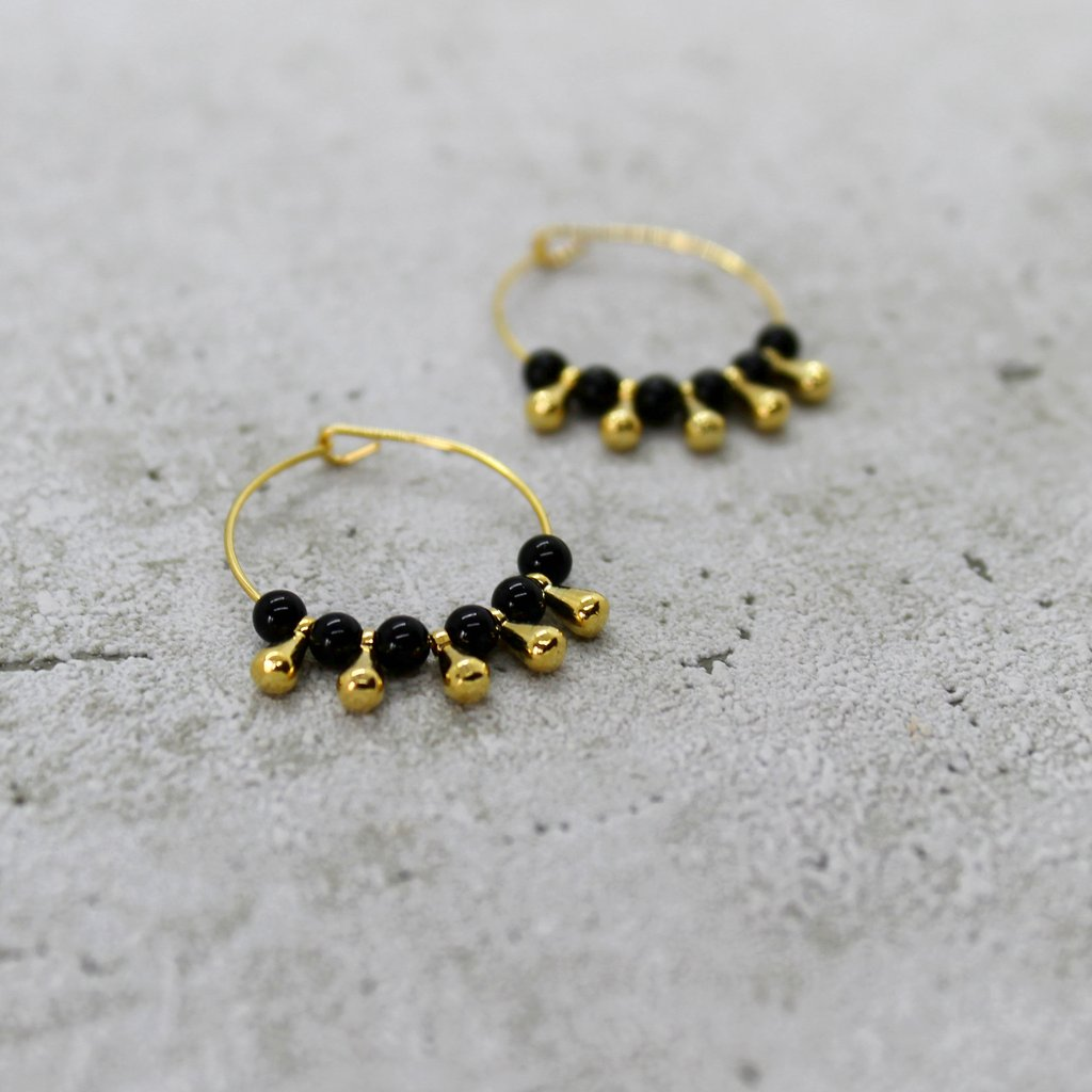 Agate & Gold Bead Hoops