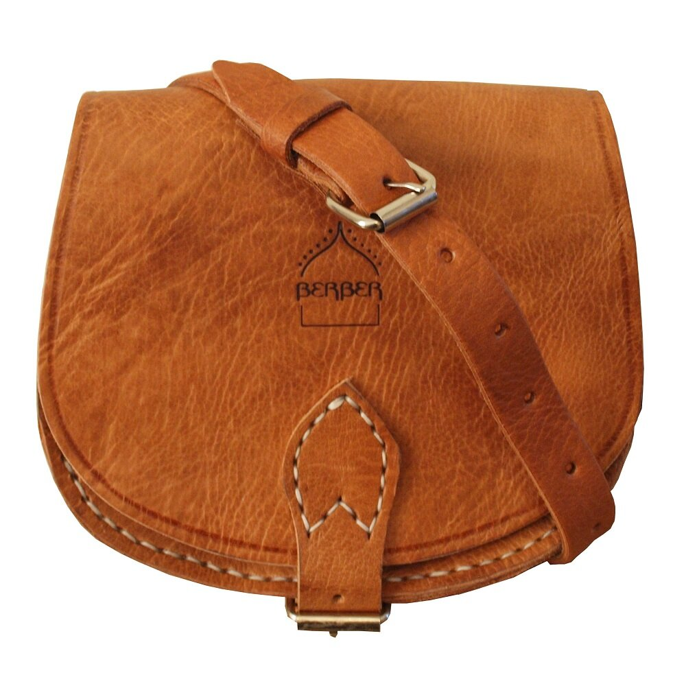 Boho Vintage Style Leather Moon Bag in Tan