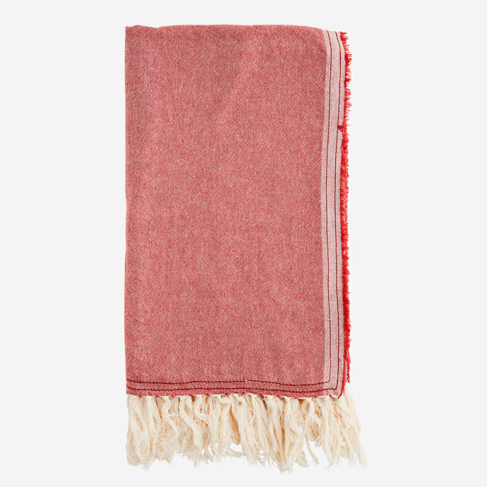 Chambray Pink & White Cotton Towel With Fringes