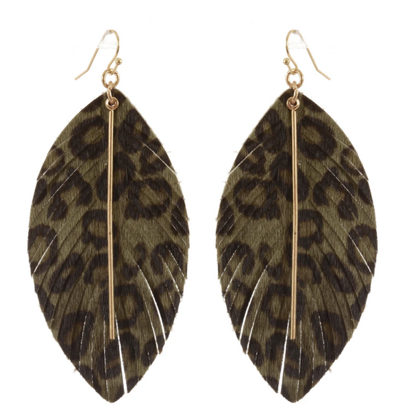 Leopard Print Leaf Earrings - Olive