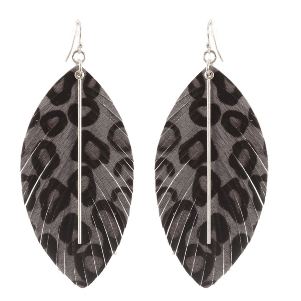 Leopard Print Design Leaf Earrings - Grey