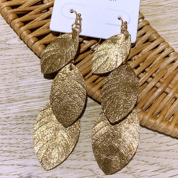 Gold Leather Leaf Drop Earrings