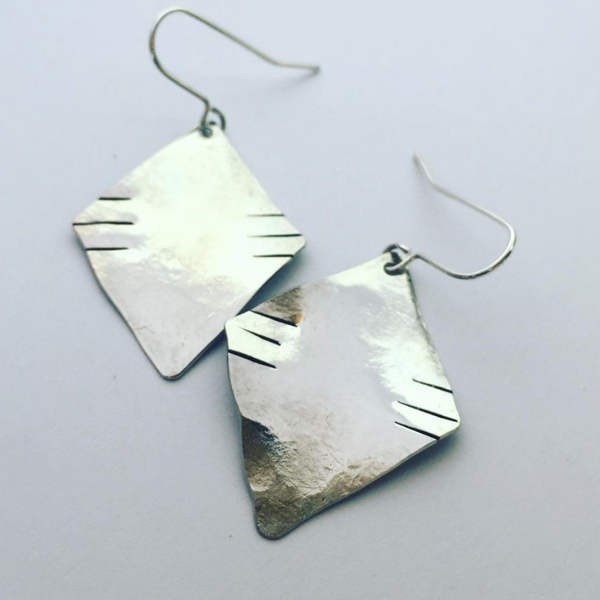 Silver Tone Tribal Earrings
