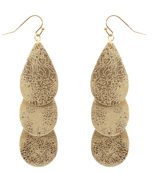 Layered Gold Teardrop Statement Earrings - Gold