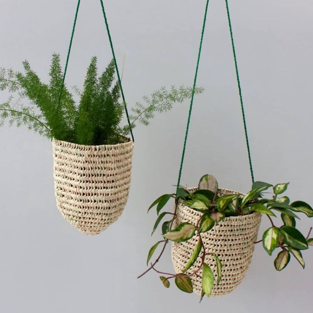 Artisan Weave & Leather Hanging Planters