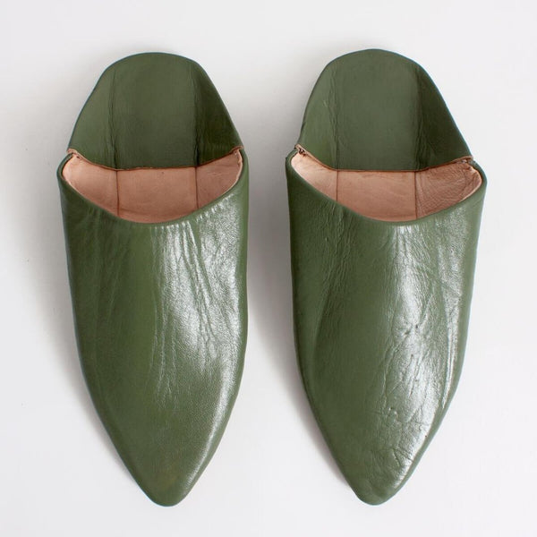 Moroccan Classic Babouche Slippers - Olive