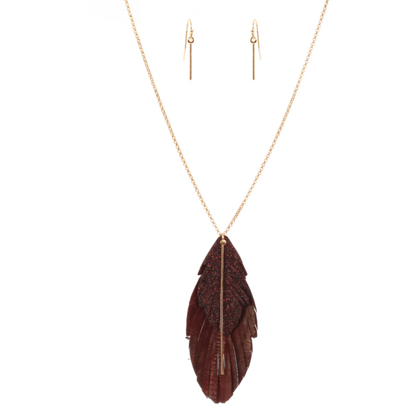Metallic Leather Feather Necklace & Earring Set