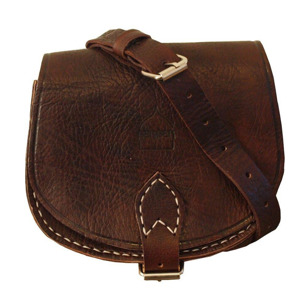 Boho Vintage Style Leather Moon Bag in Dark Brown