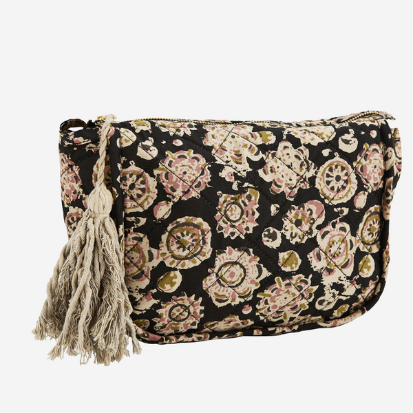 Printed Make-Up Bag -Black and Dusty Rose