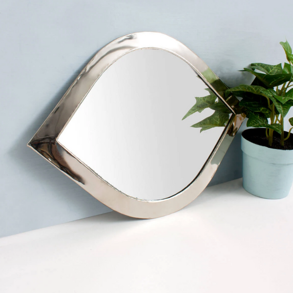Moroccan Eye Mirror - White Brass