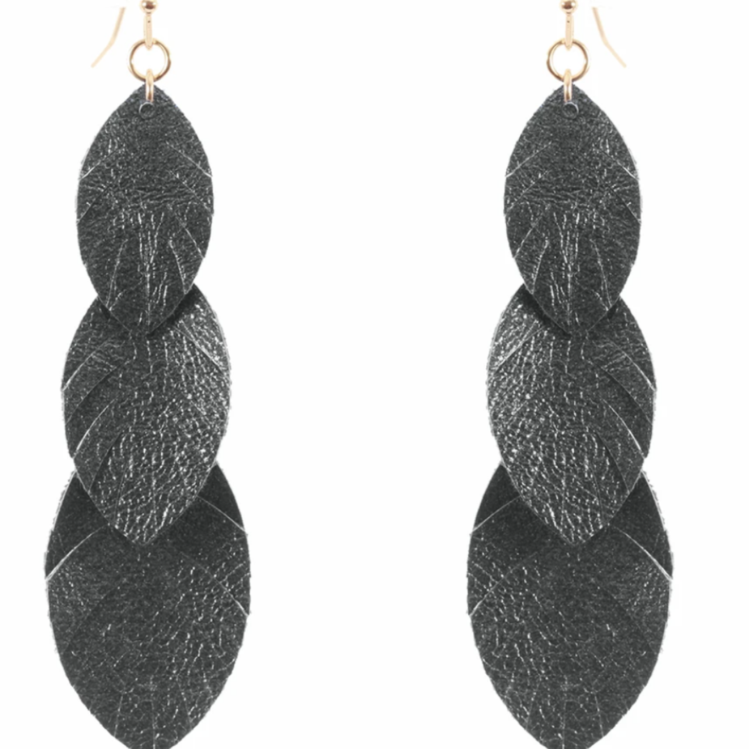 Layered Leaf Earrings - Pewter
