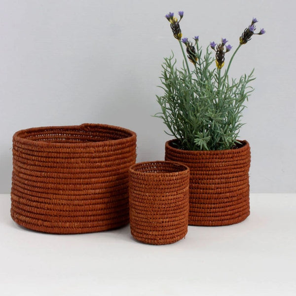 Boho Inspired Raffia Storage Baskets - Tobacco