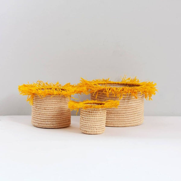 Boho Raffia Baskets / Pots With Yellow Tassels