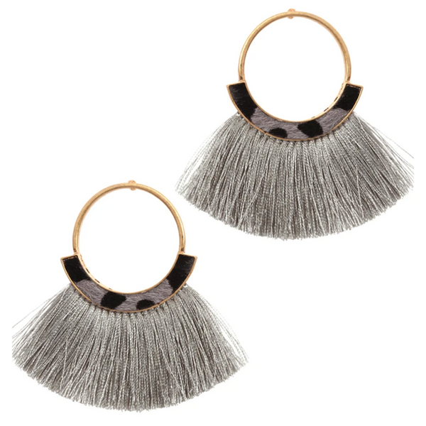 Leopard Trim Tassel Earrings