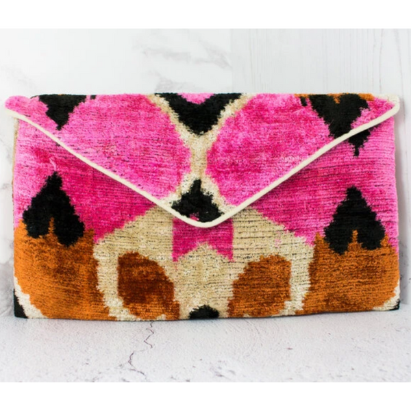 Statement Handcrafted Luxury Boho Clutch Bag - Pink