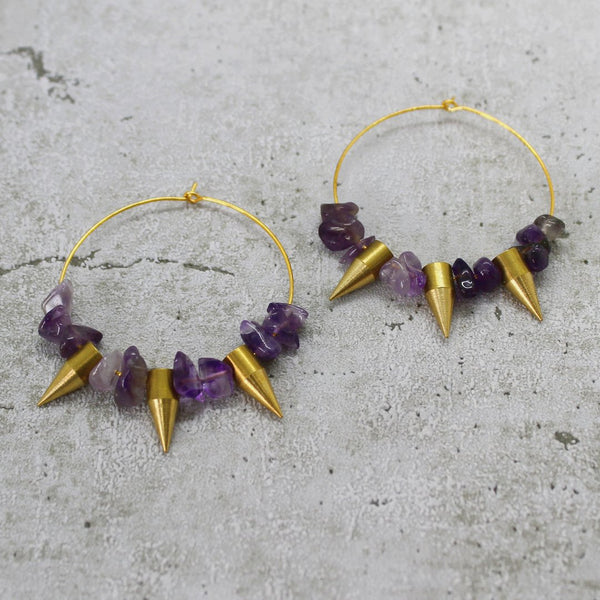 Amethyst Spike Earrings