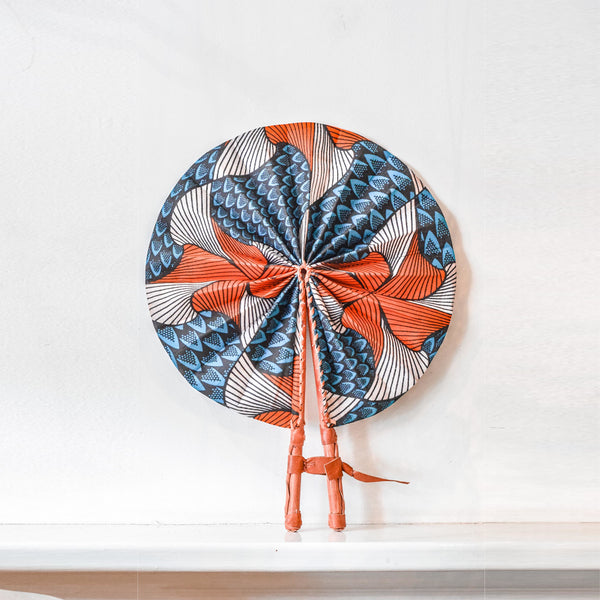 Handcrafted Fan / Wall Decor - Orange & Blue