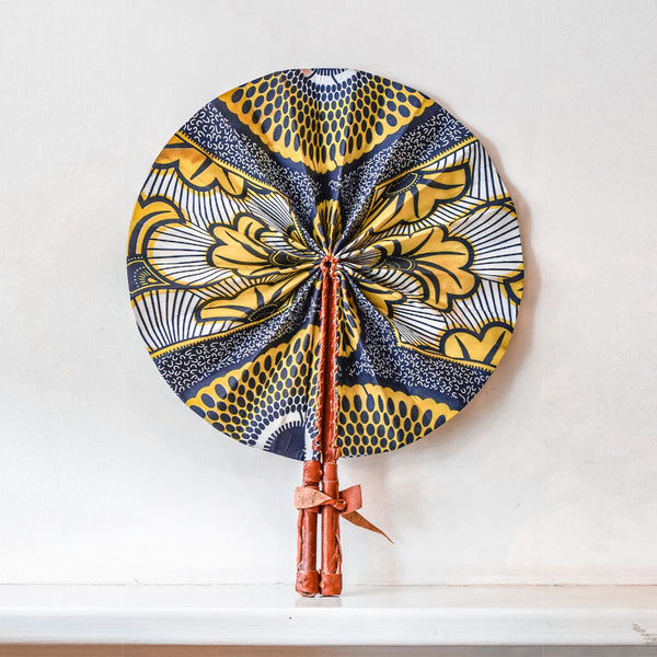 Handcrafted Fan / Wall Decor - Yellow & Navy