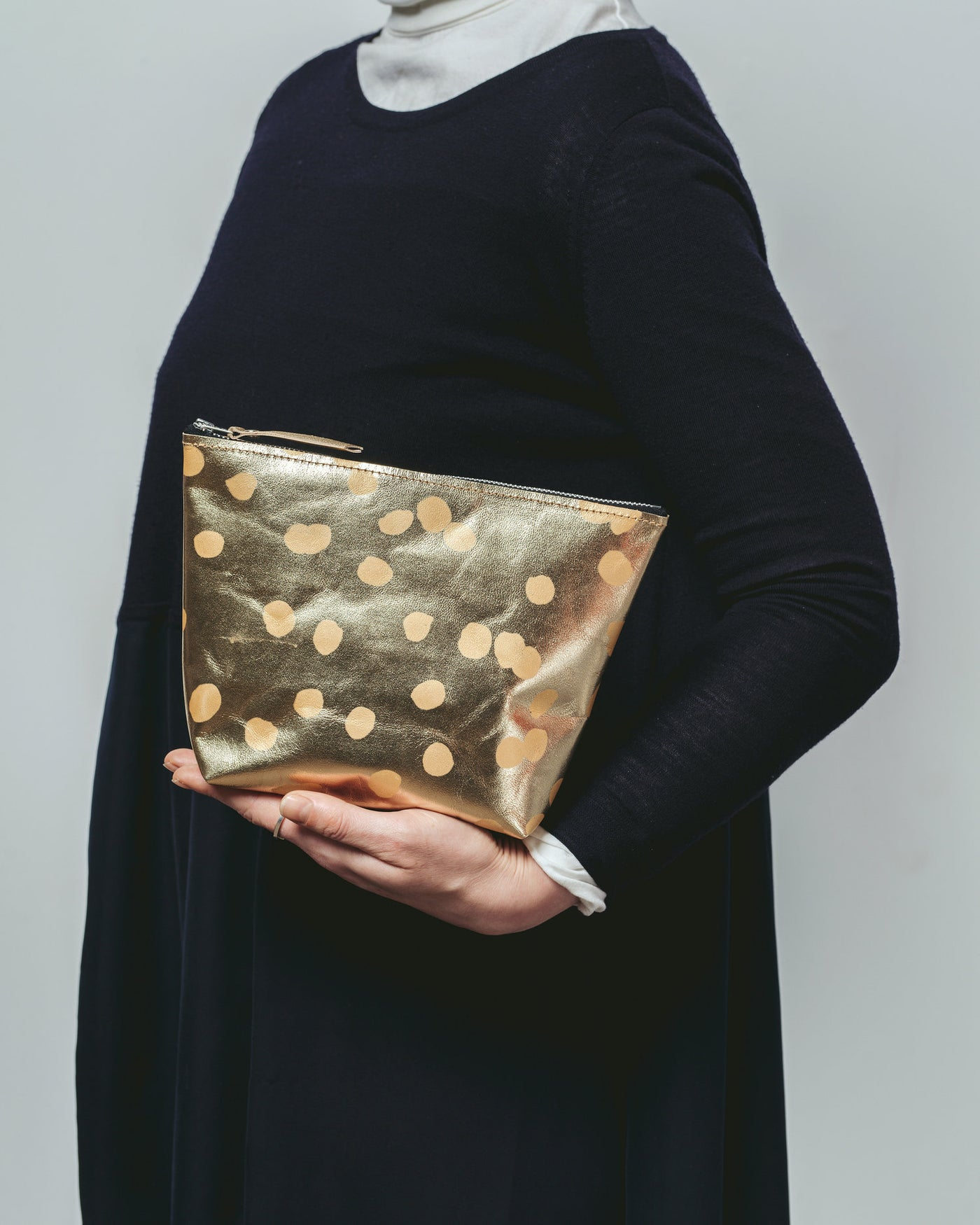 Gold Leather Zip Clutch - Large