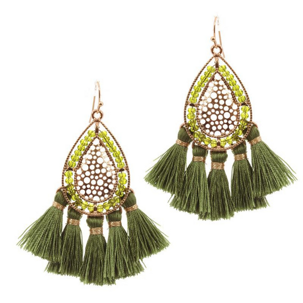 Beaded Tassel Statement Earrings - Green