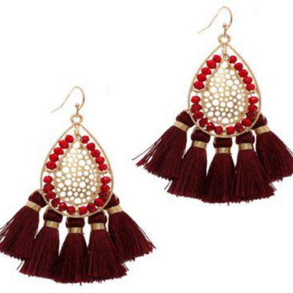 Beaded Statement Earrings - Burgundy