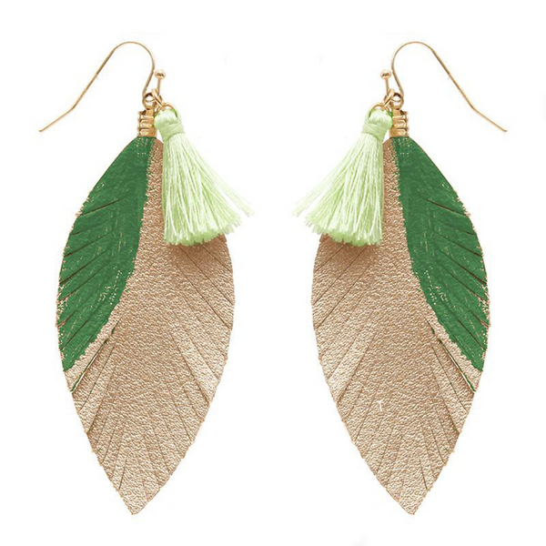 Statement Leaf Earrings - Green