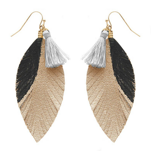 Statement Leaf Earrings - Black