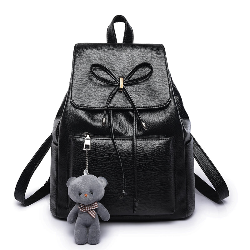 Fashion Bear Decorative Litchi Grain Backpack Bags