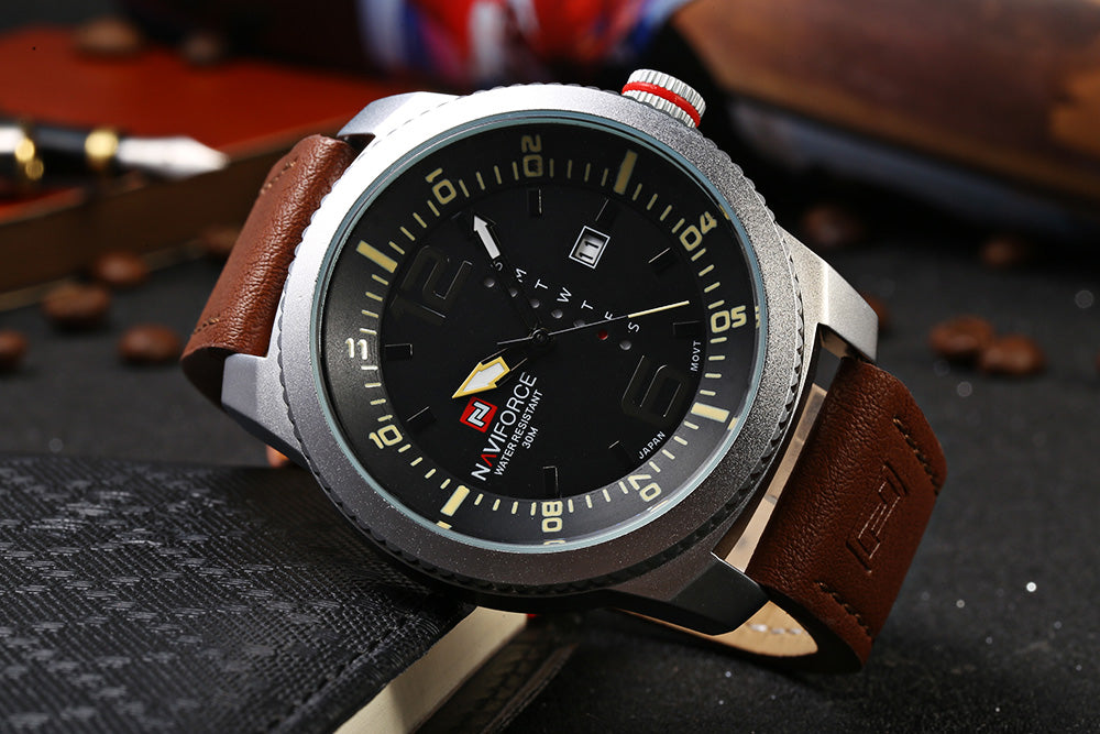 NAVIFORCE NF 9063M Male Quartz Watch Black Case Calendar Display Dial Leather Band Wristwatch