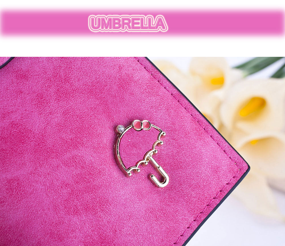 Guapabien Umbrella Tassel Solid Color Letter Dual Snap Fasteners Long Clutch Wallet for Women