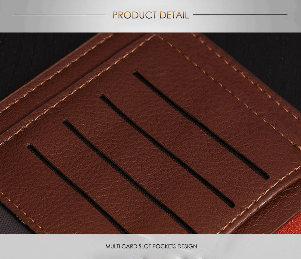 Lichee Pattern Solid Color Letter Open Soft Vertical Long Wallet for Men