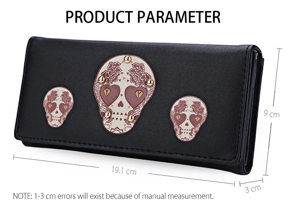 Skull Heart Plant Rivet Long Clutch Wallet for Lady