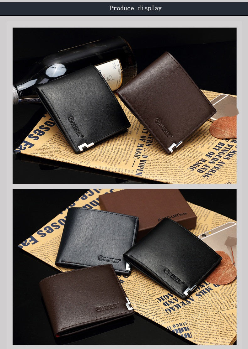 AUGUR 2017 New Brand Short Men Wallets PU Leather Male Purse Card Holder Fashion Zipper Coin Bag